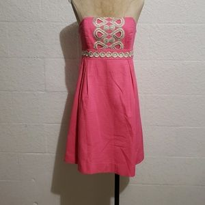 Lilly Pulitzer F&F Embroidered Strapless Dress 2
